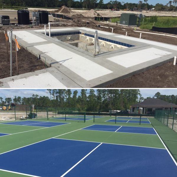 pool construction and tennis courts