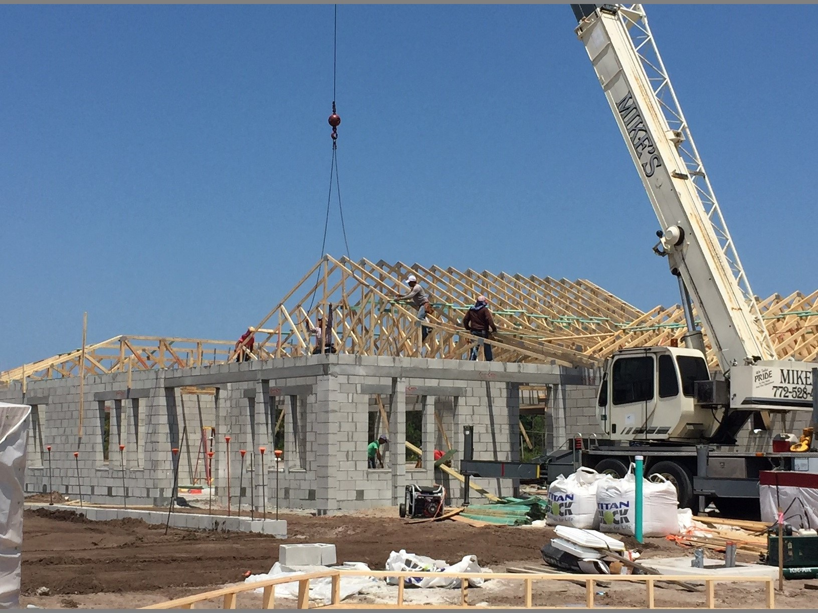 raising the trusses on the roof